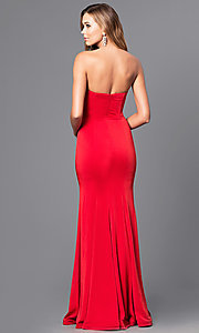 Image of strapless long mermaid prom dress with beaded waist. Style: DQ-21-9720 Back Image