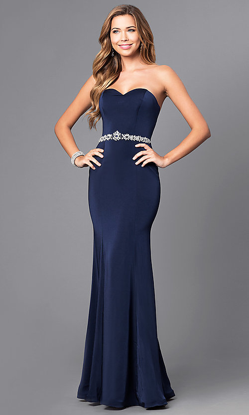Image of strapless long mermaid prom dress with beaded waist. Style: DQ-21-9720 Detail Image 2