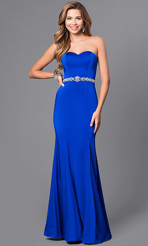 Image of strapless long mermaid prom dress with beaded waist. Style: DQ-21-9720 Front Image