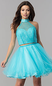 Image of short lace-top two-piece baby doll hoco dress. Style: NA-21-6354 Detail Image 1