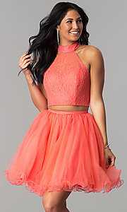Image of short lace-top two-piece baby doll hoco dress. Style: NA-21-6354 Front Image