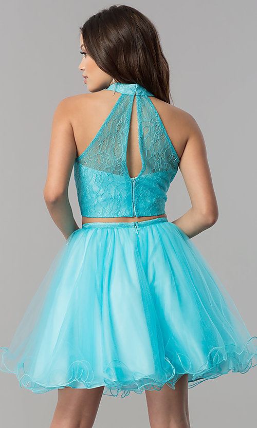 Image of short lace-top two-piece baby doll hoco dress. Style: NA-21-6354 Back Image
