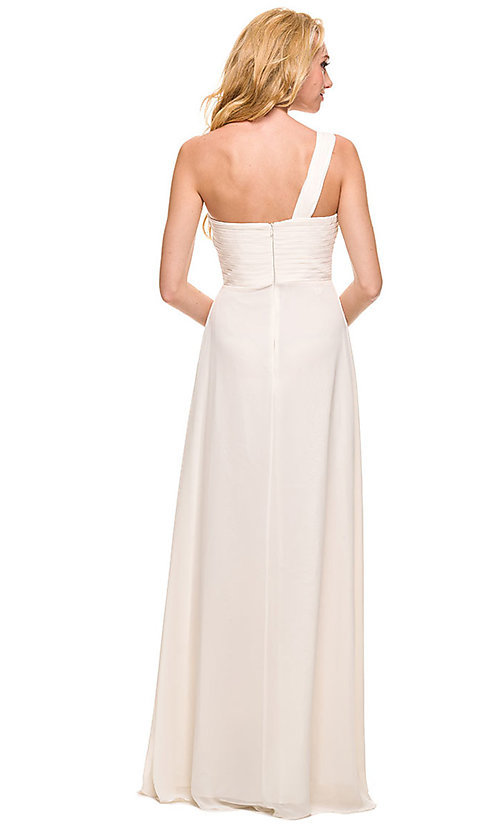 Image of one-shoulder long chiffon classic formal dress. Style: NA-21-7125 Detail Image 2