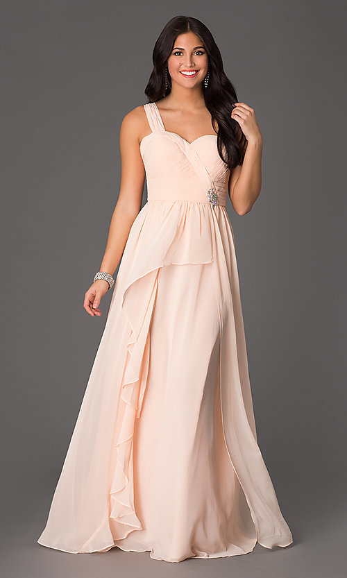 Image of one-shoulder long chiffon classic formal dress. Style: NA-21-7125 Front Image