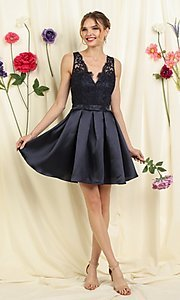 Image of lace bodice a-line short homecoming dance dress. Style: FG-SOI-21-S19457 Front Image