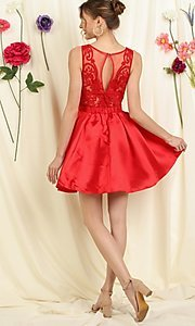 Image of lace bodice a-line short homecoming dance dress. Style: FG-SOI-21-S19457 Back Image