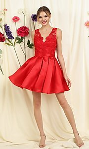 Image of lace bodice a-line short homecoming dance dress. Style: FG-SOI-21-S19457 Detail Image 1