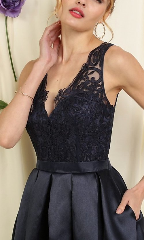 Image of lace bodice a-line short homecoming dance dress. Style: FG-SOI-21-S19457 Detail Image 2
