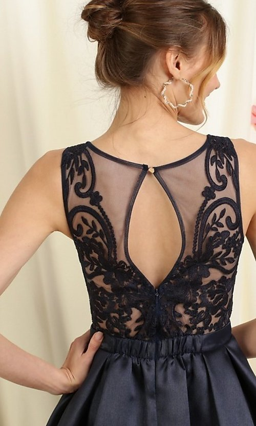 Image of lace bodice a-line short homecoming dance dress. Style: FG-SOI-21-S19457 Detail Image 3