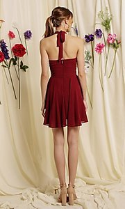 Image of halter-top short a-line homecoming dance dress. Style: FG-SOI-21-S19354 Back Image