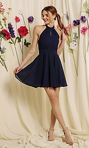 Image of halter-top short a-line homecoming dance dress. Style: FG-SOI-21-S19354 Detail Image 2