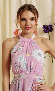 Image of halter-top short a-line homecoming dance dress. Style: FG-SOI-21-S19354 Detail Image 7