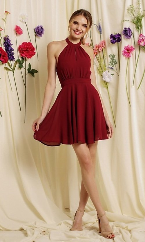 Image of halter-top short a-line homecoming dance dress. Style: FG-SOI-21-S19354 Front Image