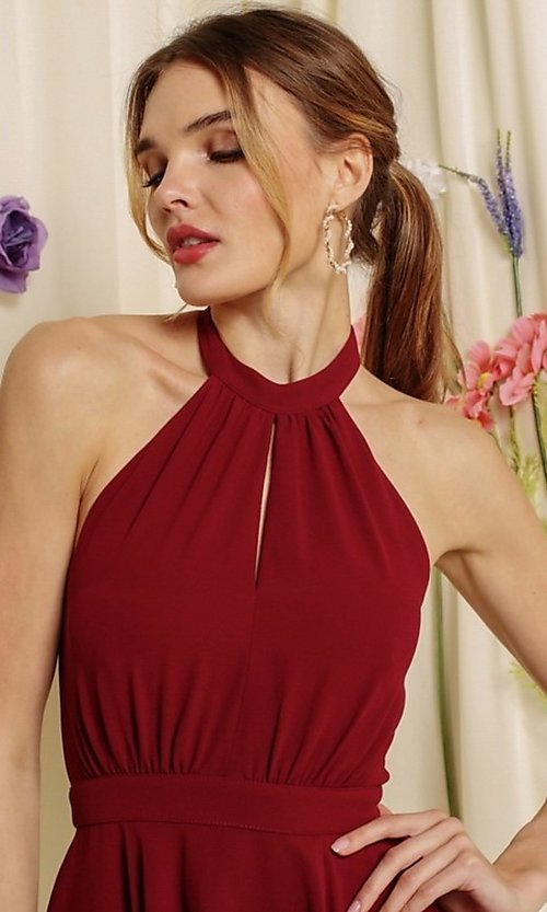 Image of halter-top short a-line homecoming dance dress. Style: FG-SOI-21-S19354 Detail Image 1