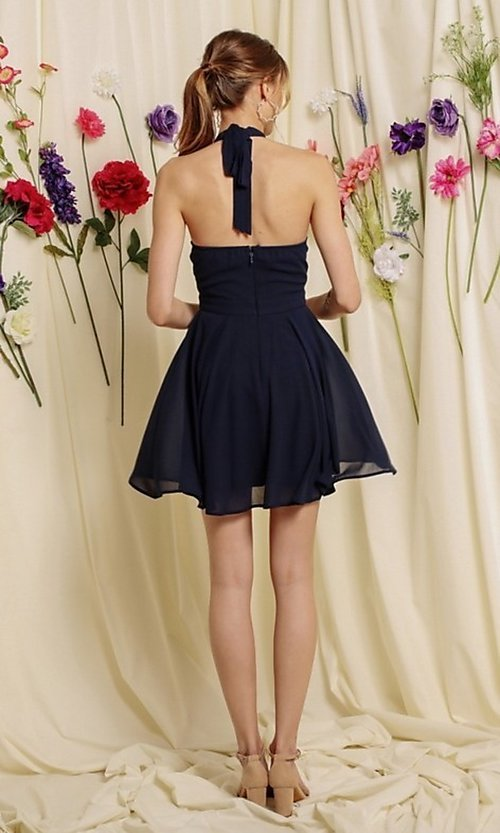 Image of halter-top short a-line homecoming dance dress. Style: FG-SOI-21-S19354 Detail Image 3
