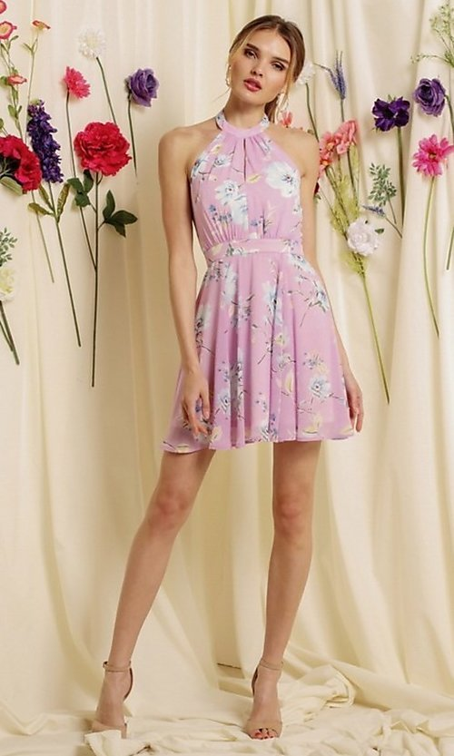 Image of halter-top short a-line homecoming dance dress. Style: FG-SOI-21-S19354 Detail Image 5