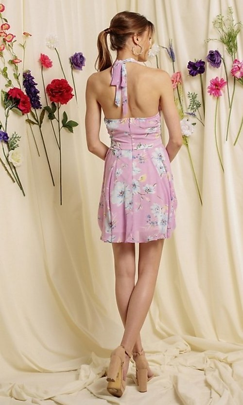 Image of halter-top short a-line homecoming dance dress. Style: FG-SOI-21-S19354 Detail Image 6