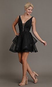 Image of embroidered glitter short black fancy hoco dress. Style: FG-SOI-21-W19091 Front Image