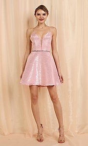 Image of short metallic pink a-line homecoming dance dress. Style: FG-SOI-21-W19471 Detail Image 2