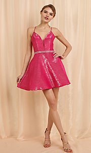 Image of short metallic pink a-line homecoming dance dress. Style: FG-SOI-21-W19471 Front Image