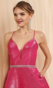 Image of short metallic pink a-line homecoming dance dress. Style: FG-SOI-21-W19471 Detail Image 1