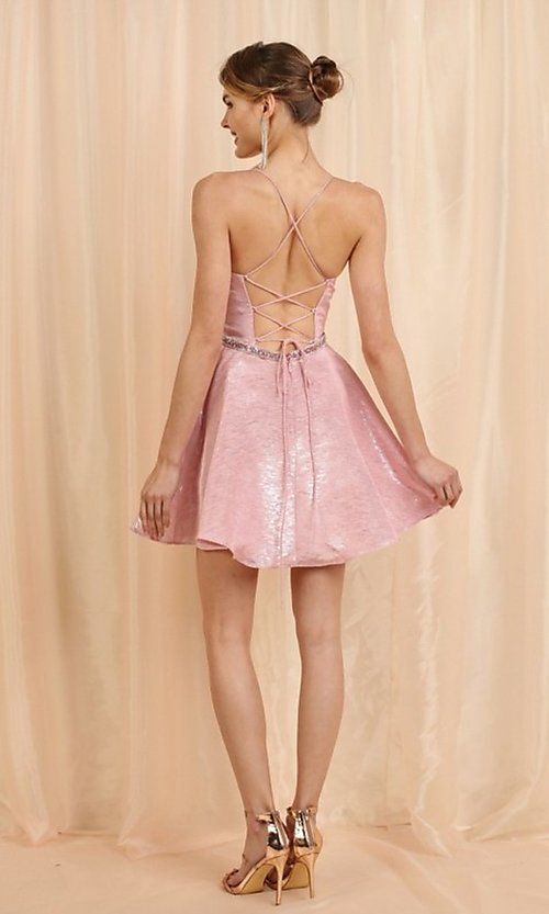 Image of short metallic pink a-line homecoming dance dress. Style: FG-SOI-21-W19471 Detail Image 3