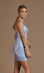 Image of short fitted metallic sequin homecoming dress. Style: NA-21-E712 Back Image