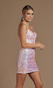 Image of short fitted metallic sequin homecoming dress. Style: NA-21-E712 Detail Image 2