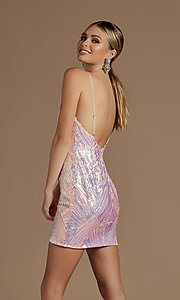 Image of short fitted metallic sequin homecoming dress. Style: NA-21-E712 Detail Image 3