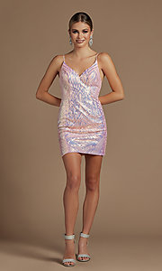 Image of short fitted metallic sequin homecoming dress. Style: NA-21-E712 Detail Image 4