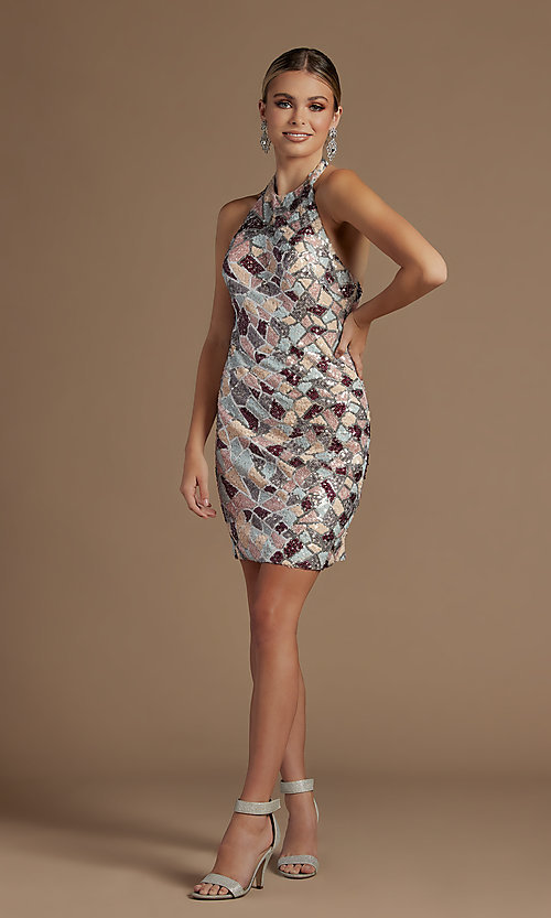 Image of short halter multi-color sequin homecoming dress. Style: NA-21-E713 Detail Image 2