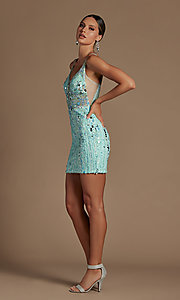 Image of short sequin homecoming dress with illusion v-neck. Style: NA-21-E714 Detail Image 2
