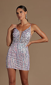 Image of short sequin homecoming dress with illusion v-neck. Style: NA-21-E714 Detail Image 3