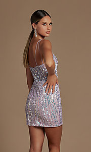 Image of short sequin homecoming dress with illusion v-neck. Style: NA-21-E714 Detail Image 4