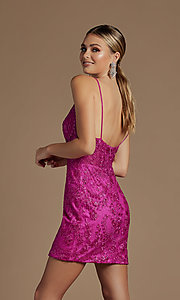 Image of sheer-bodice embroidered short homecoming dress. Style: NA-21-E715 Detail Image 5