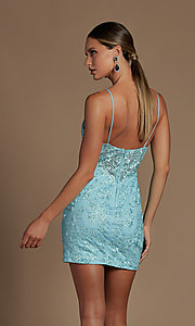 Image of sheer-bodice embroidered short homecoming dress. Style: NA-21-E715 Detail Image 2