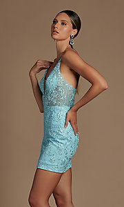 Image of sheer-bodice embroidered short homecoming dress. Style: NA-21-E715 Detail Image 3