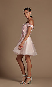 Image of 3D floral applique short a-line homecoming dress. Style: NA-21-E716 Detail Image 5