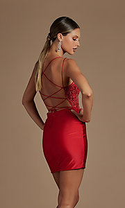 Image of short tight corset-back homecoming dance dress. Style: NA-21-E717 Detail Image 5