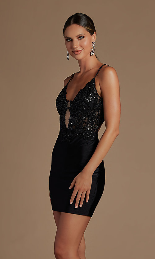 Image of short tight corset-back homecoming dance dress. Style: NA-21-E717 Detail Image 1