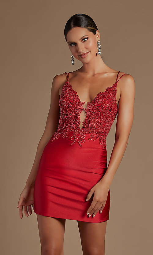 Image of short tight corset-back homecoming dance dress. Style: NA-21-E717 Detail Image 4