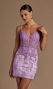 Image of sheer lace corset-bodice short homecoming dress. Style: NA-21-R700 Detail Image 5