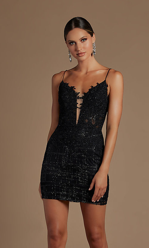 Image of sheer lace corset-bodice short homecoming dress. Style: NA-21-R700 Detail Image 1