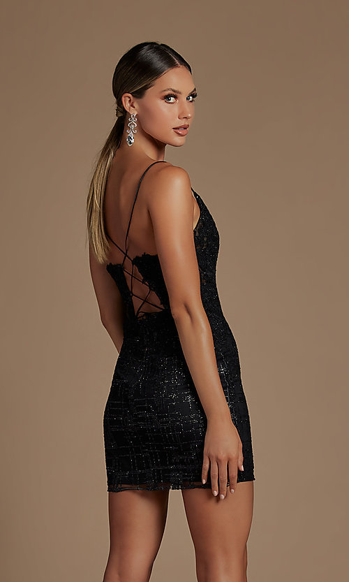 Image of sheer lace corset-bodice short homecoming dress. Style: NA-21-R700 Detail Image 2