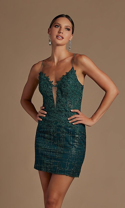 Image of sheer lace corset-bodice short homecoming dress. Style: NA-21-R700 Detail Image 3