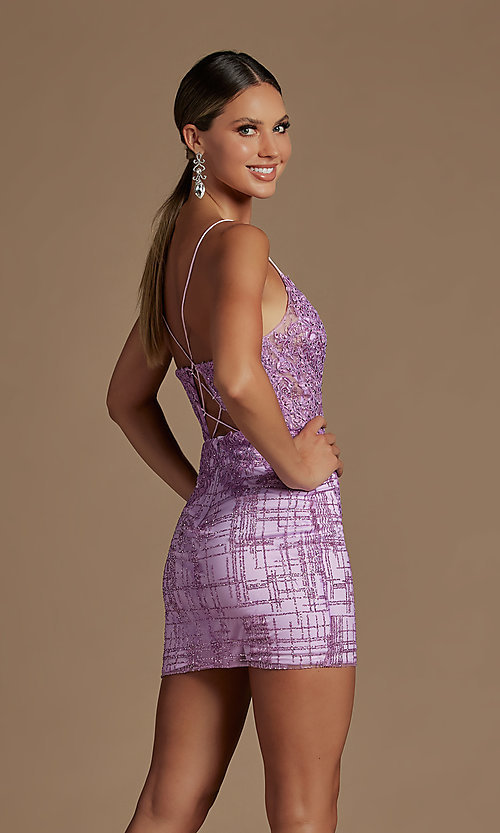 Image of sheer lace corset-bodice short homecoming dress. Style: NA-21-R700 Detail Image 6