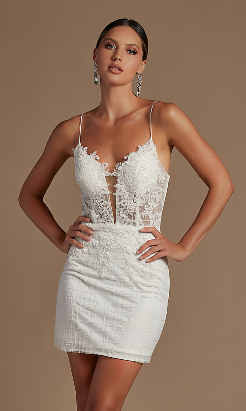 Image of sheer lace corset-bodice short homecoming dress. Style: NA-21-R700 Front Image
