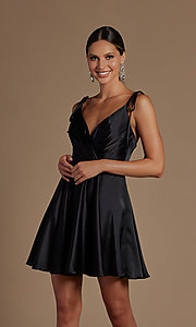 Image of short a-line homecoming dress with shoulder ties. Style: NA-21-R701 Front Image