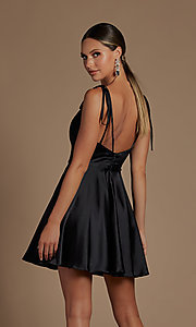 Image of short a-line homecoming dress with shoulder ties. Style: NA-21-R701 Back Image