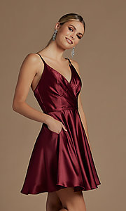 Image of short a-line homecoming dress with shoulder ties. Style: NA-21-R701 Detail Image 1